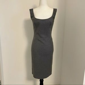 Alexander McQueen stretch wool fitted midi dress.